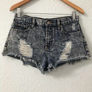 Forever21 high waisted acid wash distressed shorts